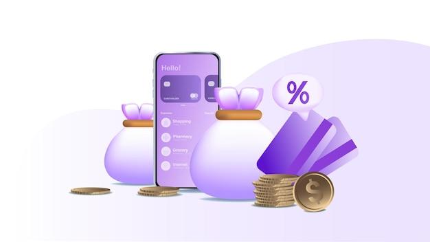 Conceito de reembolso online banco online economizando dinheiro modelo de página de destino para banner da web