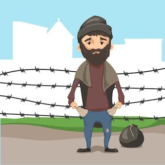 Conceito de refugiados.