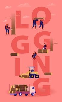 Conceito de registro. lenhadores cortando árvores e toras de madeira usando motosserra e carregando para transporte. ilustração plana dos desenhos animados