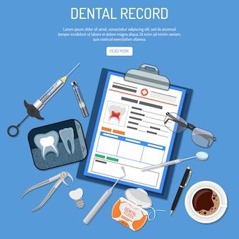 Conceito de registro médico odontológico