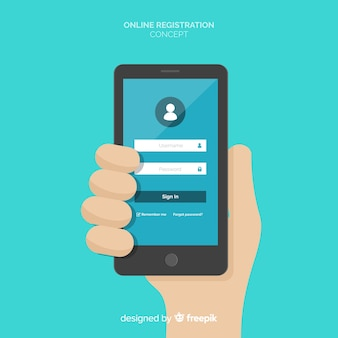 Conceito de registro on-line com design plano