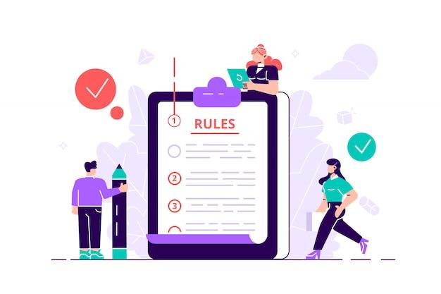Conceito de regras. pessoas da lista de verificação de regulamentos