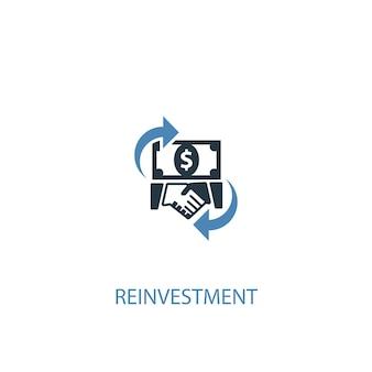 Conceito de reinvestimento 2 ícone colorido. ilustração do elemento azul simples. design de símbolo de conceito de reinvestimento. pode ser usado para ui / ux da web e móvel