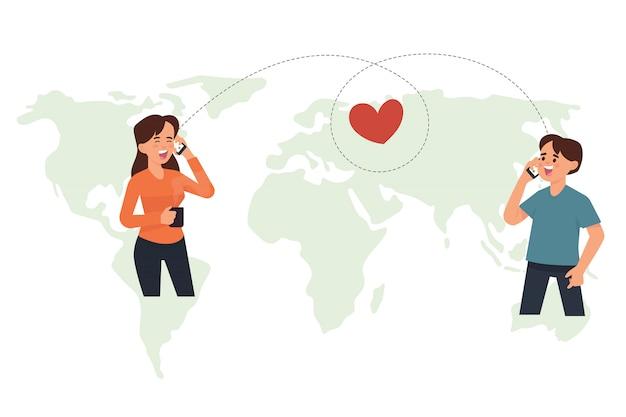 Conceito de relacionamento a longa distância