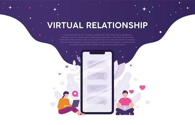 Conceito de relacionamento virtual ou aplicativos de namoro