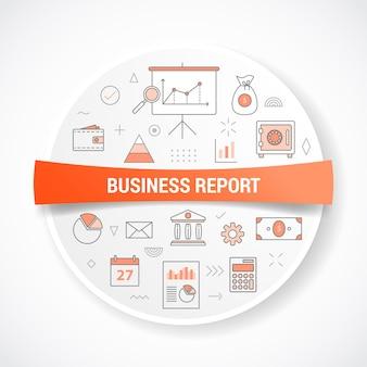 Conceito de relatório de negócios com conceito com ilustração em forma de círculo ou círculo