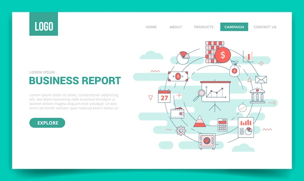 Conceito de relatório de negócios com ícone de círculo para modelo de site ou página de destino