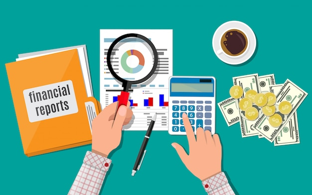 Conceito de relatório financeiro. área de trabalho de negócios, vista superior