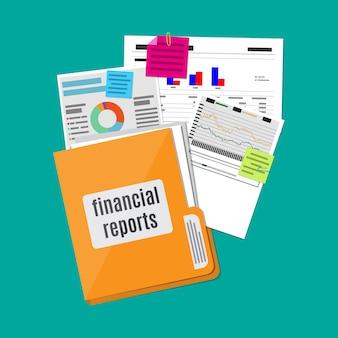 Conceito de relatório financeiro. fundo de negócios.