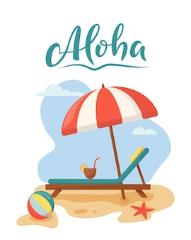 Conceito de relaxamento de viagens e férias de verão na praia