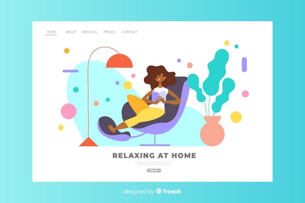 Conceito de relaxamento em casa para a página de destino