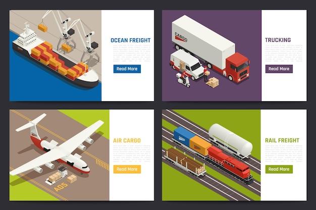 Conceito de remessa global 4 páginas da web isométricas com ilustração de carga aérea navio oceânico, transporte de carga por caminhão