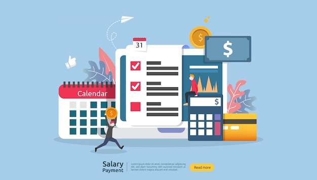 Conceito de renda da folha de pagamento. pagamento de salário bônus anual. pagamento com papel, calculadora e caráter de pessoas.