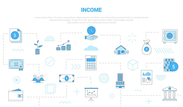 Conceito de renda de negócios com banner de modelo de conjunto de ícones com ilustração em vetor moderno estilo de cor azul