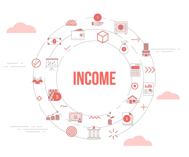 Conceito de renda de negócios com conjunto de ícones de banner e círculo de forma redonda