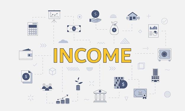 Conceito de renda de negócios com ícone definido com grande palavra ou texto no centro