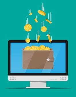 Conceito de renda online. ganhos na rede de internet