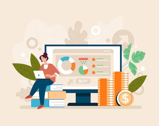 Conceito de renda passiva de soluções financeiras de investimento ipo. ilustração plana