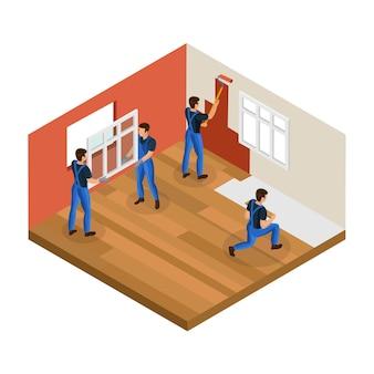 Conceito de renovação isométrica em casa com trabalhadores profissionais instalando a parede de pintura de janelas e consertando o piso da sala