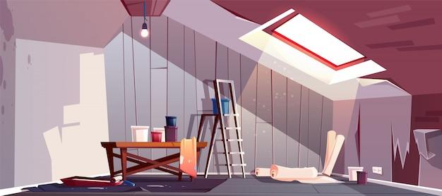 Conceito de reparação do sótão. renovação do quarto de madeira sob um telhado.
