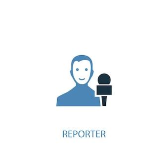 Conceito de repórter 2 ícone colorido. ilustração do elemento azul simples. design de símbolo de conceito de repórter. pode ser usado para ui / ux da web e móvel
