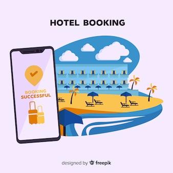 Conceito de reserva de hotel em estilo simples