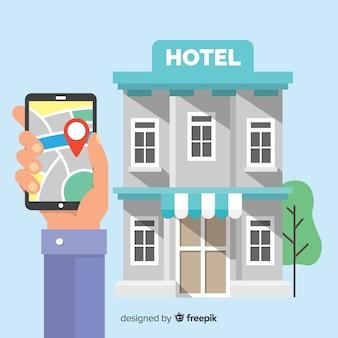 Conceito de reserva de hotel plana