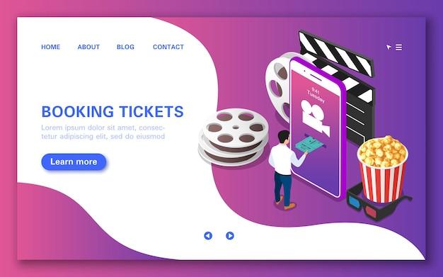 Conceito de reserva de ingressos online para assistir a um filme.