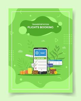 Conceito de reserva de voo de transporte smartphone livro bilhete na tela de exibição mala carteira moeda dólar para modelo