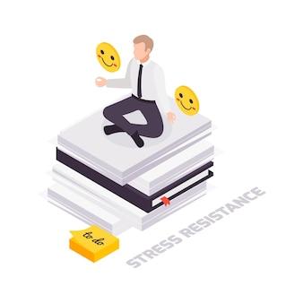 Conceito de resistência isométrica ao estresse de habilidades suaves com personagem sentado em posição de lótus em uma pilha de papéis