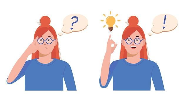 Conceito de resolução de problemas. mulher pensa e resolve um problema. um ponto de interrogação e uma lâmpada luminosa como símbolos do surgimento de uma ideia criativa.