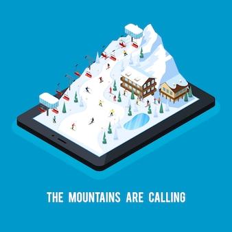 Conceito de resort de esqui on-line