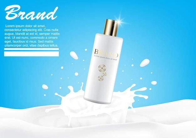 Conceito de respingo de leite de anúncio cosmético. maquete de loção de luxo. modelo de design de publicidade