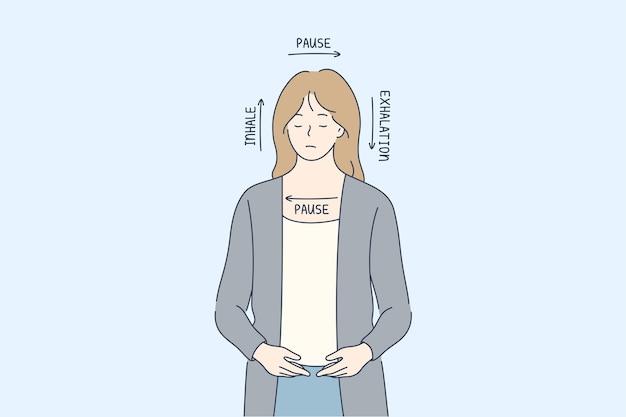 Conceito de respiração quadrada anti-stress de meditação.