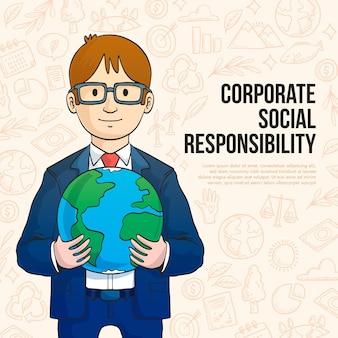 Conceito de responsabilidade social corporativa desenhado à mão