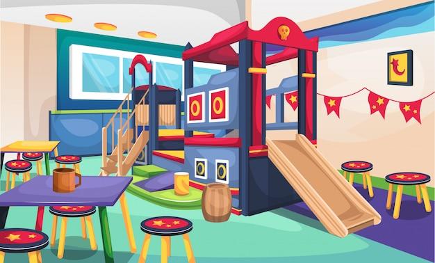 Conceito de restaurante café crianças com pirata mini playground