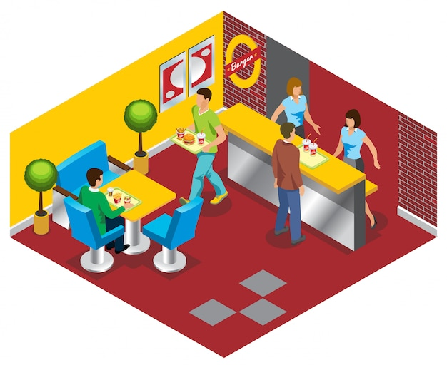 Conceito de restaurante isométrico fast-food com pessoas de trabalhadores que compram e comem batatas fritas de salada de refrigerante de hambúrgueres