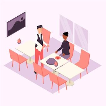 Conceito de restaurante isométrico