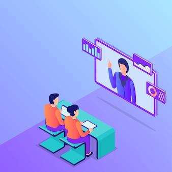 Conceito de reunião de negócios de conferência on-line com as pessoas assistem monitor de tv com estilo simples isométrico