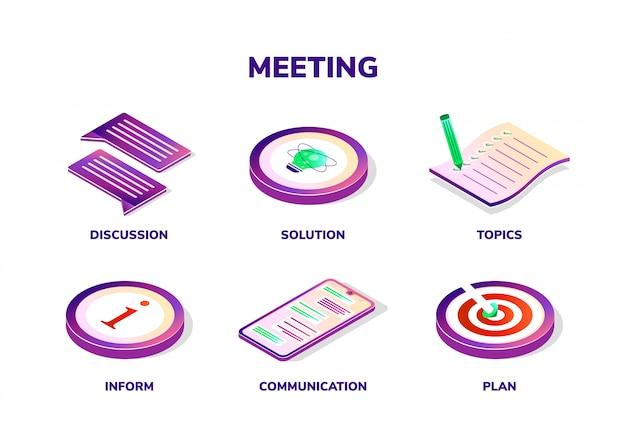 Conceito de reunião. ícones isométricos