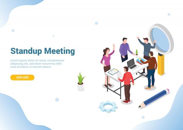 Conceito de reunião isométrica em pé para o site