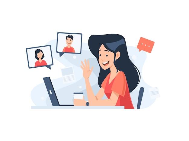Conceito de reunião online em design plano