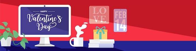 Conceito de reuniões online, texto de feliz dia dos namorados na tela do computador.
