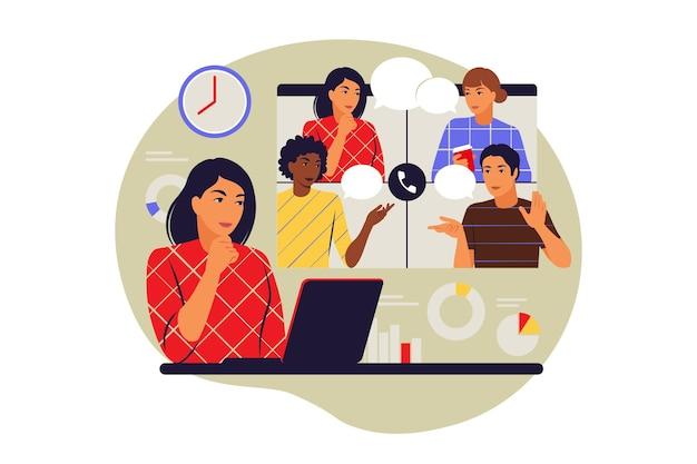 Conceito de reuniões remotas. videoconferência, conceito de trabalho remoto. ilustração vetorial. plano. Vetor Premium
