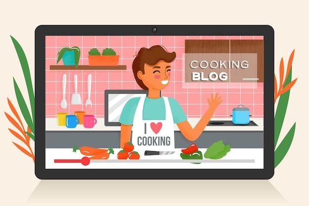 Conceito de revisão do blogger com mulher cozinhando