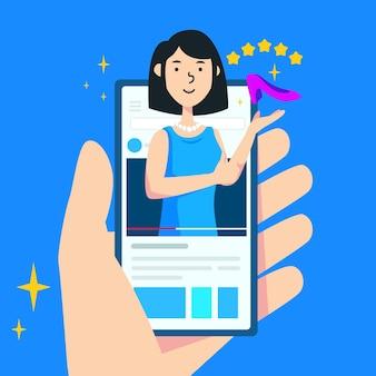 Conceito de revisão do blogger com smartphone