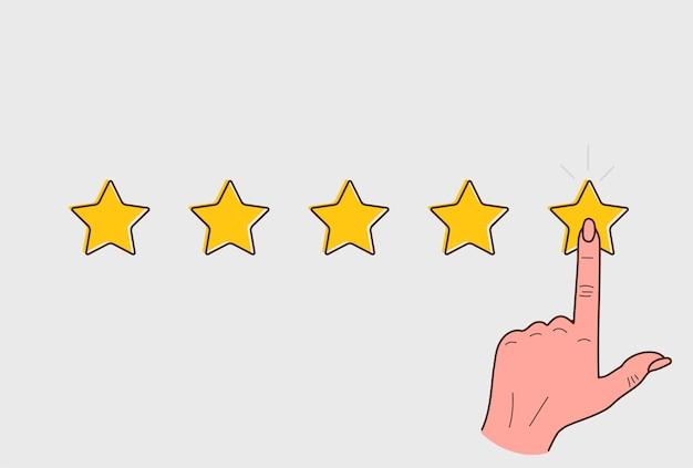 Conceito de revisão do cliente. boa taxa, experiência positiva. mão feminina na estrela. mão ilustrações desenhadas.