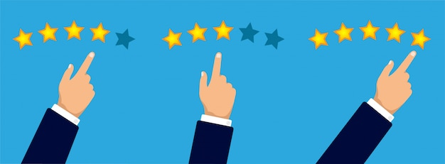 Conceito de revisão do cliente. mão dá três, quatro ou cinco estrelas. classificação de estrelas douradas. feedback, reputação e qualidade. ilustração plana.