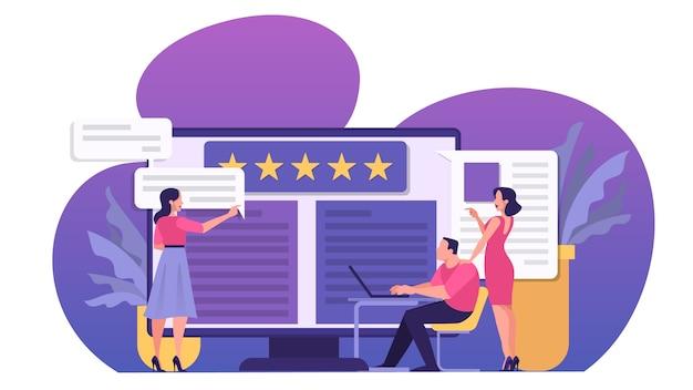 Conceito de revisão online. as pessoas deixam comentários, bons e ruins