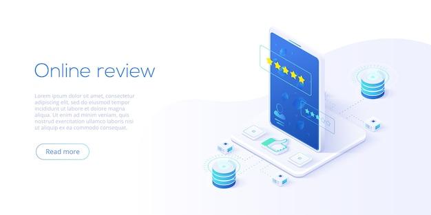 Conceito de revisão online em isométrico. pesquisa de clientes ou avaliação de reputação via internet móvel no smartphone. serviço de feedback do usuário sobre o produto ou aplicativo. modelo de layout de banner da web.